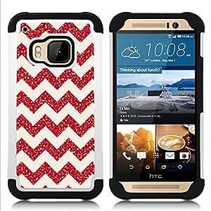 For HTC ONE M9 - chevron glitter Christmas pink red shiny Dual Layer caso de Shell HUELGA Impacto pata de cabra con im??genes gr??ficas Steam - Funny Shop -
