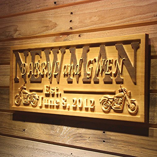 AdvPro Wood Custom wpa0374 Motorcycle Gifts Family Name First Names Personalized with Established Date Wedding Gift Wood Engraved Wooden Sign - Standard 23