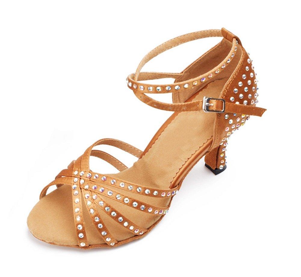 TMKOO Damen Damen Damen Tanzschuhe Latin Modern   Salsa Jazz   Hochhackige Tanzschuhe Soft-Sohlen Tanzschuhe Latin Dance Schuhe Schwarz   Lila Blau   Rot (Farbe   Bronze, Größe   6CM Root-34) B07CVGQWQW Tanzschuhe Sport 3110fa