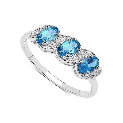 05074afd2726 La Coleccion Anillo Topacio  Anillo Oro Blanco 9ct con 3 piedras de Topacio  Azul set
