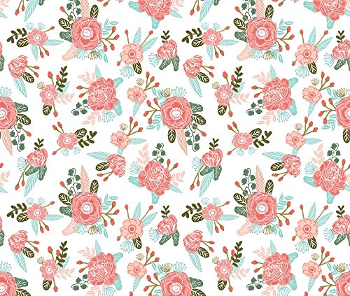 Floral Fabric Flowers Florals Girls Blush Coral Pink Sweet Painted Flowers by Charlottewinter Printed on Basic Cotton Ultra Fabric by the Yard by Spoonflower (Painted Blush)