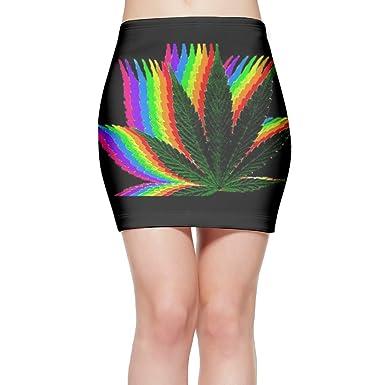 Rainbow Crazy Weed Cool Marijuana Women's Fashion Mini Skirt Slim Tight Short Fitted Skirt