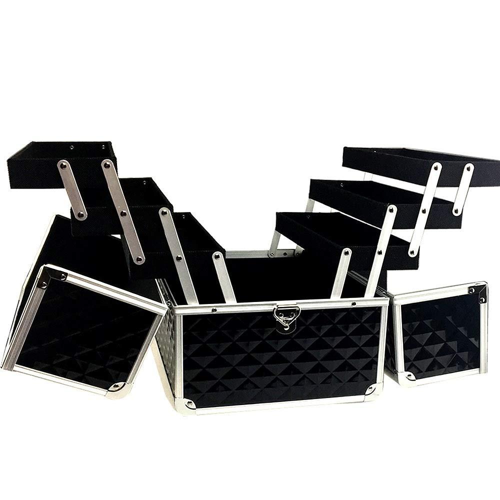 特大スペース収納ビューティーボックス 美の構造のためそしてジッパーおよび折る皿が付いている女の子の女性旅行そして毎日の貯蔵のための高容量の携帯用化粧品袋 化粧品化粧台 B07TBDVYLZ
