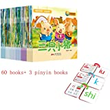 60 books Chinese Mandarin Story Book with Lovely Pictures pinyin ,Emotional Idiom puzzle enlightenment short stories for…