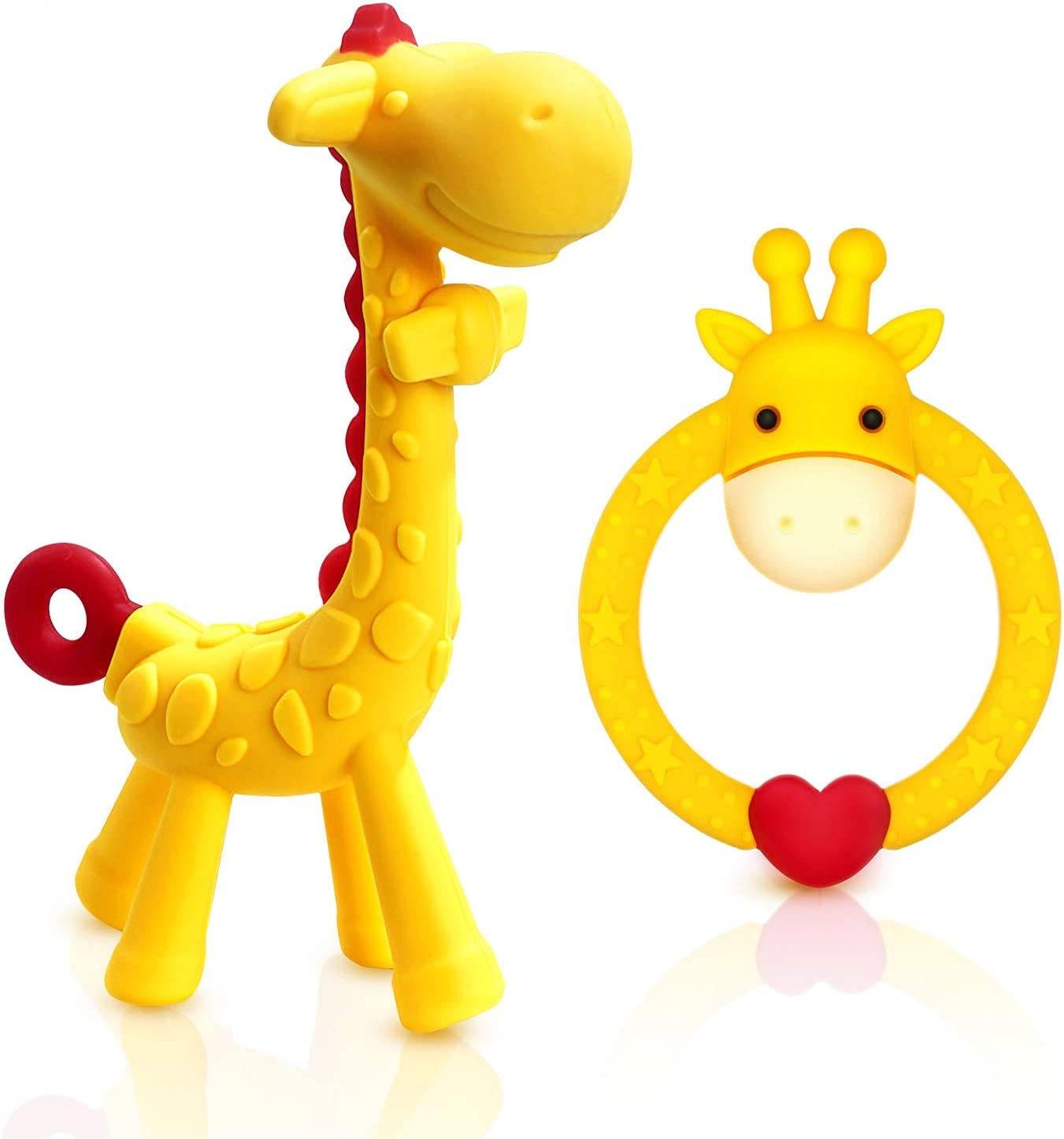 SHARE&CARE BPA Free 2 Silicone Giraffe Baby Teether Toy with Storage Case, for 3 Months Above Infant Sore Gums Pain Relief, Set of 2 Different Teething Toys (Yellow)