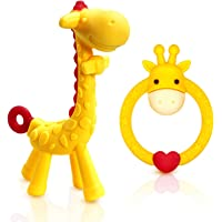 SHARE&CARE BPA Free 2 Silicone Giraffe Baby Teether Toy with Storage Case, for 3 Months Above Infant Sore Gums Pain…