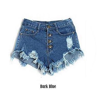 Single Breasted Ripped Combat Hemline Denim Shorts Women Casual High Waist Black  Shorts Fashion Skirt Straight 1f22cdce2e0e