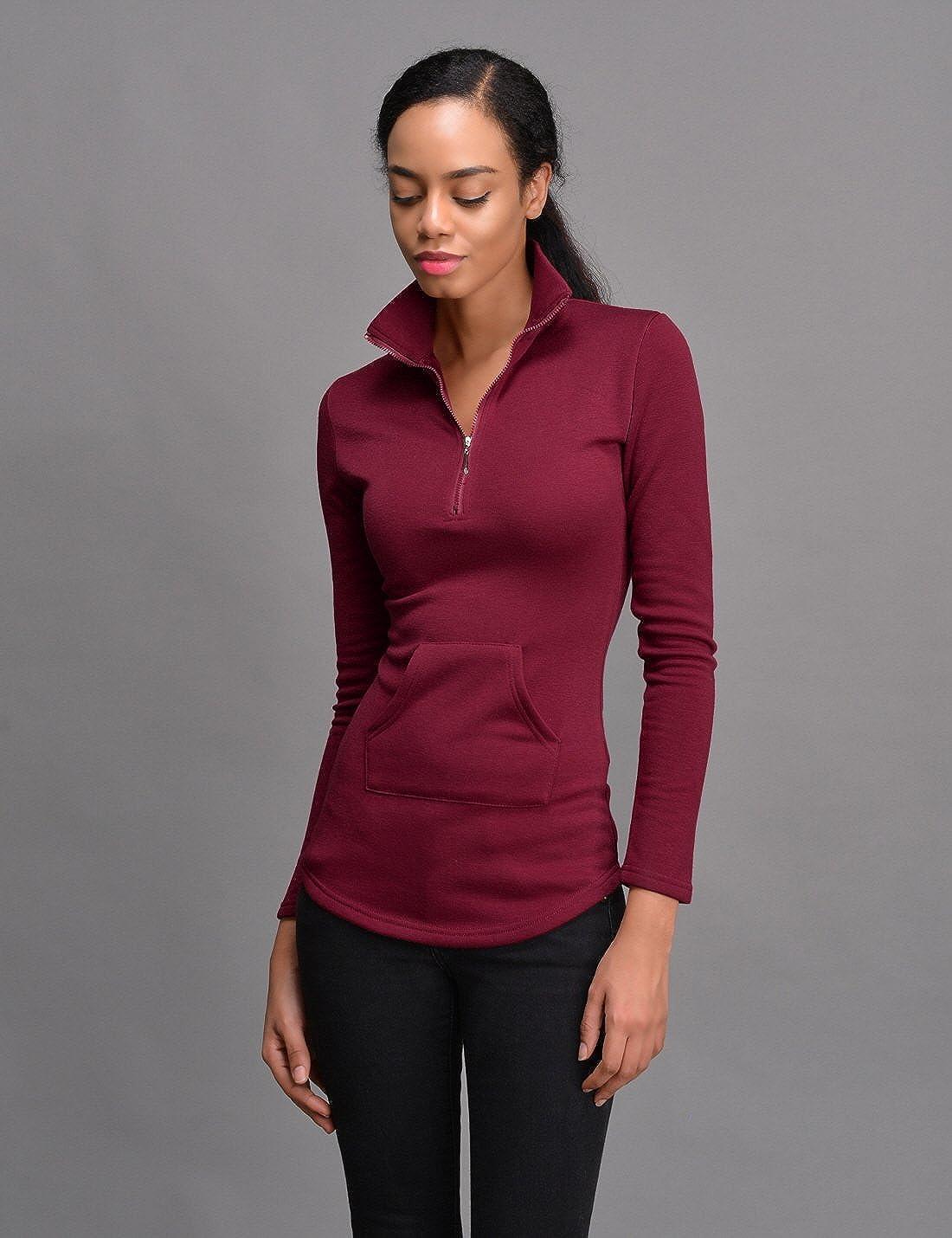 NEARKIN Women Long Sleeve Turtleneck Pullover Zip Active T Shirt Comfy Cute Tops