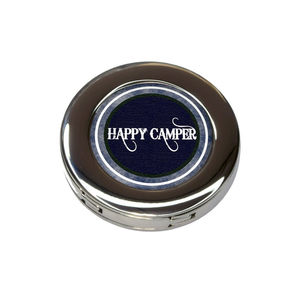 Happy Camper Denim Blues Foldable Purse Handbag Hook Hanger Holder
