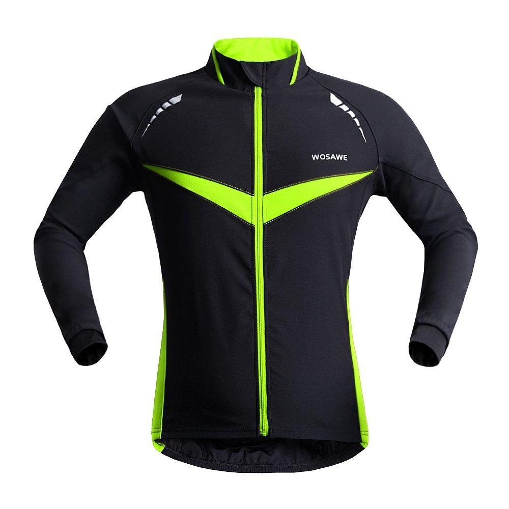 Wolfbike 自転車 サイクルジャケット ウインドブレーカー 軽量 撥水 サイクルウエア 防風 通気 バックポケット 反射材 アウトドア メンズ レディース 全5色 B01N0DM6Y0 X-Large|Black Green Jacket Black Green Jacket X-Large