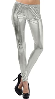 3be12ddf1 DELEY Femmes Brillant Métallique Liquide Wet Look Skinny Collants ...