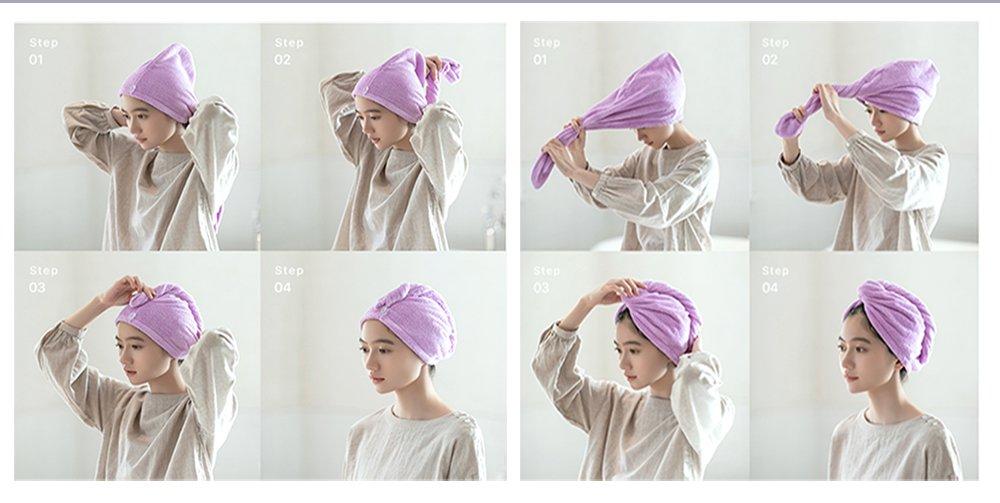Prima microfibra pelo secado toalla turbante cabeza cabello seco toalla envuelve poli/éster gorra pack de 1 Acid Blue toalla absorbente para mujeres y hombres