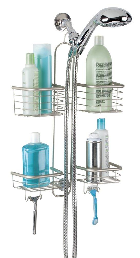 mDesign Bathroom Shower Caddy for Handheld Shower Head - Large, Satin