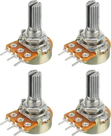 uxcell 11Pcs 50K Ohm Variable Resistors Single Turn Rotary Carbon Film Taper Potentiometer with Knob