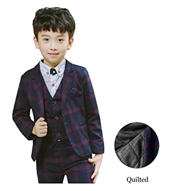 477f14489 Amazon.com  YUFAN Boys Quilted Navy Blue Plaid Suits Formal Dress ...