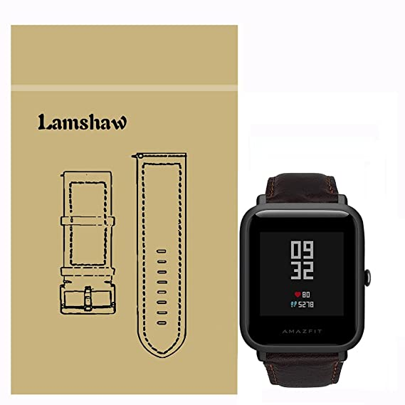 Lamshaw Leather Strap Replacement Band for Xiaomi Amazfit Bip/Xiaomi Huami Amazfit Bip Younth Watch (Leather-Coffee)