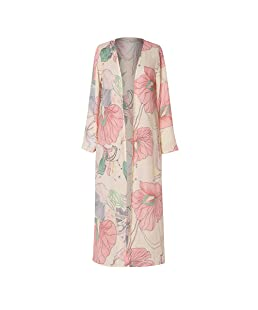Casual Women Long Sleeve Cardigan Printed Blouse Shawl Beachwear Cover Up Chiffon Cardigan Long Tops Pink
