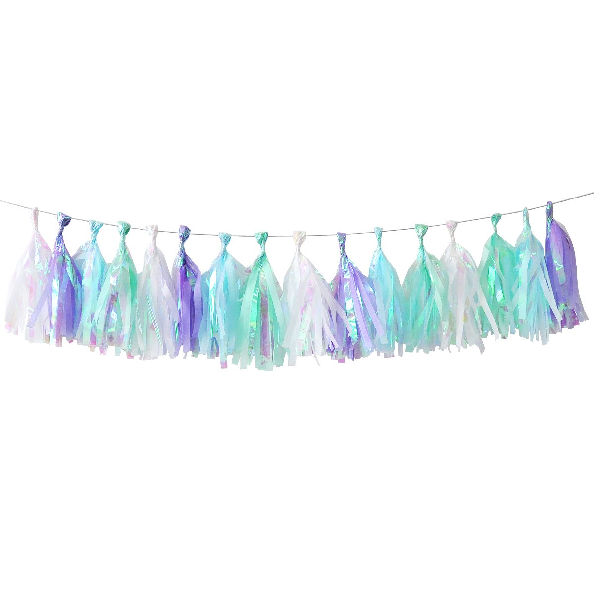 Nicrolandee 35 Pcs Iridescent Pastel Rainbow Tassel Garland for Baby Shower Decor Mermaid 1st Birthday Party High Chair Banner 7.5 inches