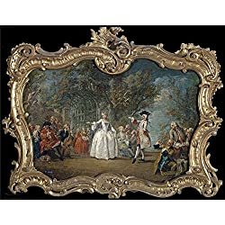 'Flipart Charles Joseph Fiesta En Un Jardin Mediados Del 18 Century ' Oil Painting, 16 X 21 Inch / 41 X 52 Cm ,printed On Perfect Effect Canvas ,this Art Decorative Canvas Prints Is Perfectly Suitalbe For Dining Room Gallery Art And Home Artwork And Gifts