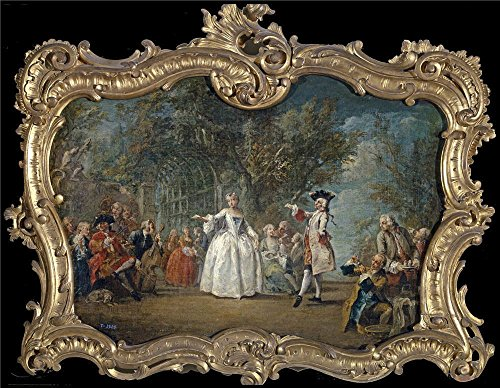 ('Flipart Charles Joseph Fiesta En Un Jardin Mediados Del 18 Century ' Oil Painting, 16 X 21 Inch / 41 X 52 Cm ,printed On Perfect Effect Canvas ,this Art Decorative Canvas Prints Is Perfectly Suitalbe For Dining Room Gallery Art And Home Artwork And Gifts )