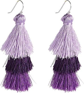 Hoop Tassel Earrings Burgundy Red Tassel Earrings Purple Tassel Hoop Earrings Tassel Jewelry Tassel Hoops Statement Tribal Earrings Bohemian