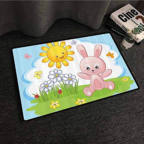 Kids Decor Fashion Door mat Cute Bunny Rabbit in Flower Garden with Happy Sun Lady Bugs and Butterfly Print Breathability W35 xL59 Multicolor ()