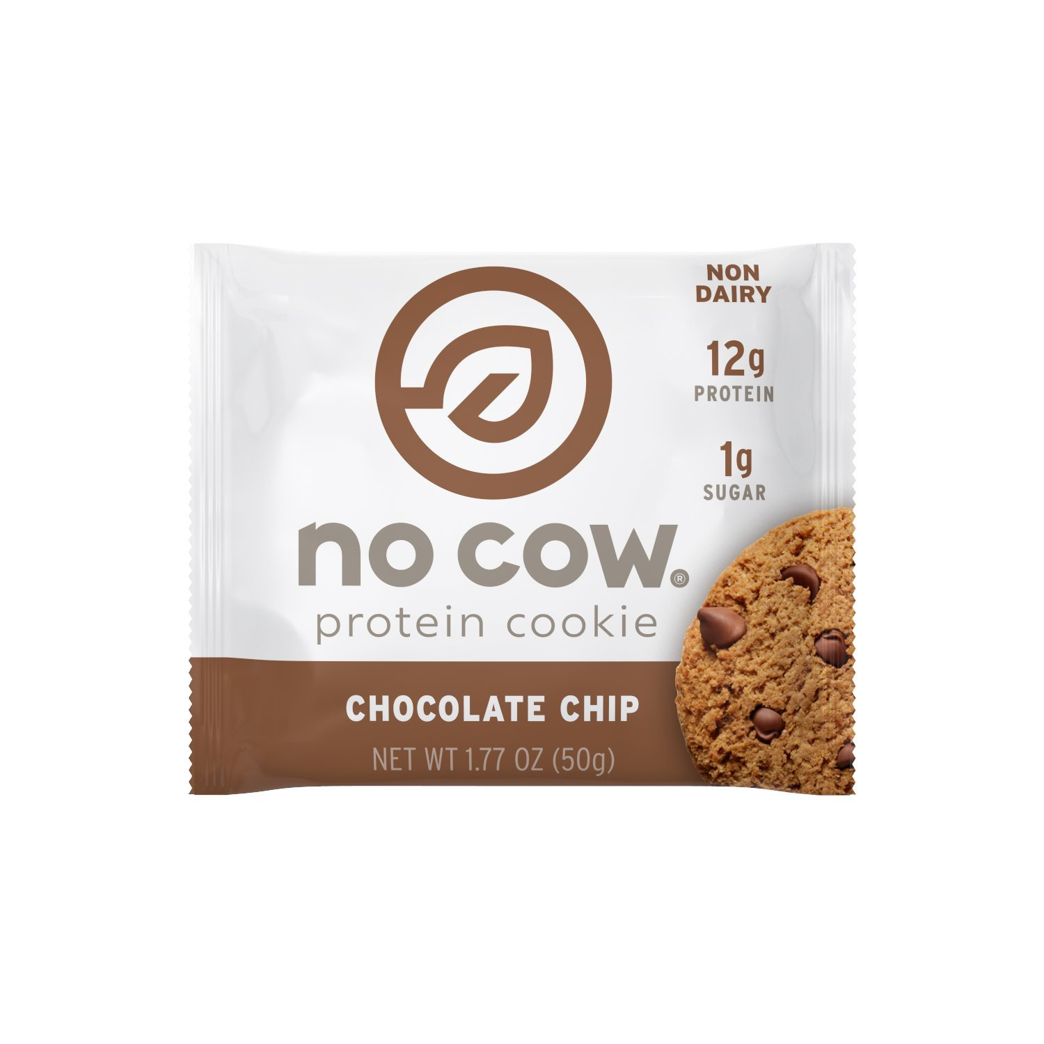 No Cow Protein Cookie, Chocolate Chip, 12g Plant Based Protein, Low Sugar, Dairy Free, Gluten Free, Vegan,