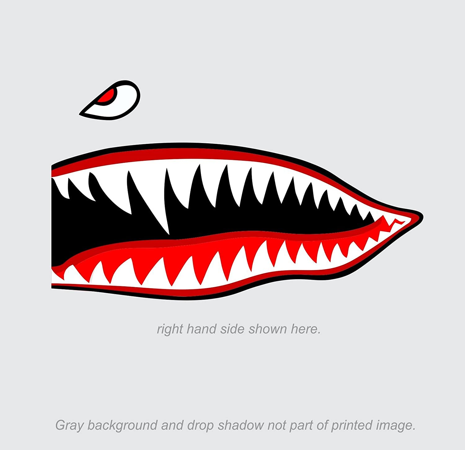 "Amazon.com: Flying Tigers shark teeth decal sticker 3"" tall x 7"" long WWII  Military Airplane: Automotive"