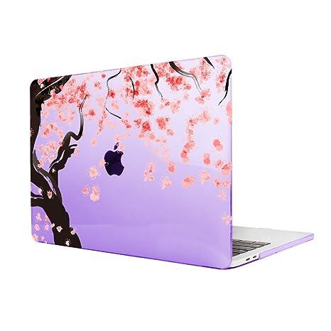 TwoL Carcasa MacBook Pro 13 Retina,Flores de Cerezo Plástico Funda Dura para MacBook Pro 13 Retina (A1502/A1425) (Púrpura)
