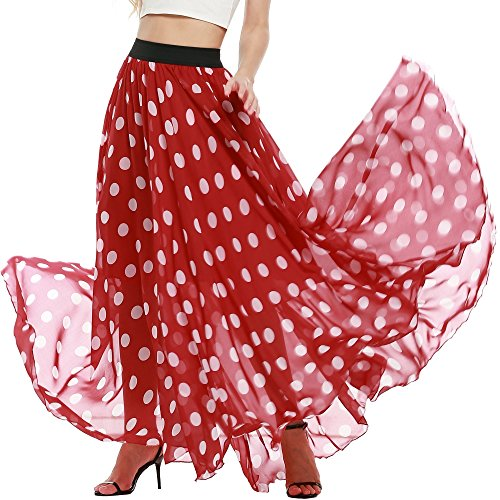 Polka Dot Pleated Skirt - 7