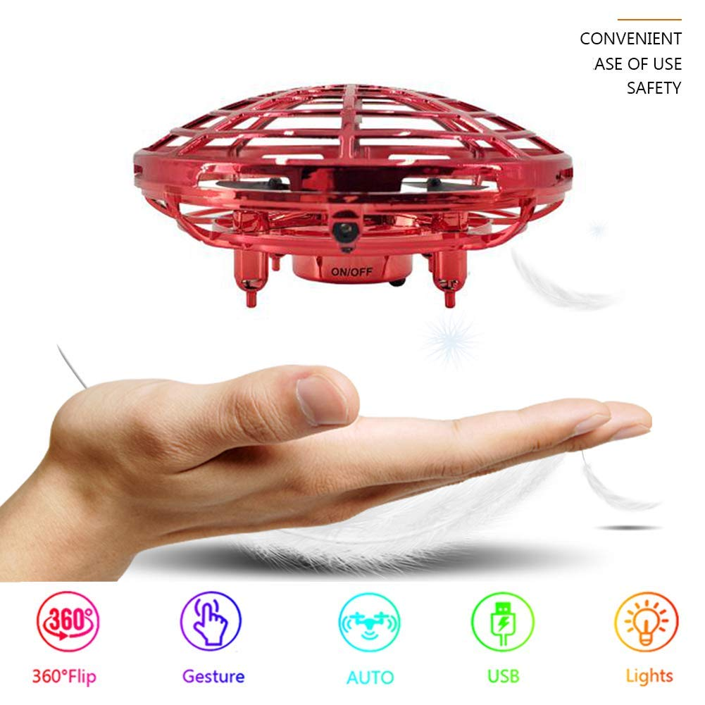 UFO Flying Ball Toys Drone for Kids Adults, Hand-Controlled Flying Ball Sense Drone Infrared Sensor 2 Speed 360°Rotating Quadcopter with LED Light Removable Battery Flying Toy for Boys and Girls by Shenzhen WinFun Global