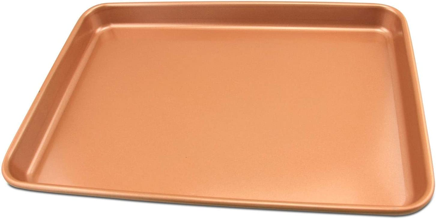 Ceramic Coated Cookie Sheet 15.5×11'' - Premium Nonstick Copper Coating Even Baking, Dishwasher and Oven Safe 425 F - PTFE/PFOA Free
