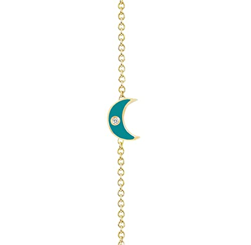 very fine chain golden and enamel eye bracelet