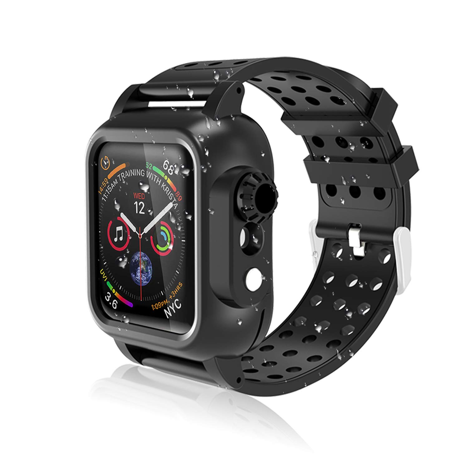 Realproof Waterproof Apple Watch Series 4 Case 40mm with Premium Soft Silicone Band Built-in Screen Protector, iwatch Protective Case Slim Thin Drop Shock Proof Apple Watch Case for Men Women Girls by OWKEY