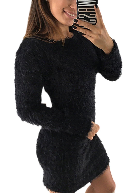 Suvotimo Women Fuzzy Winter Pullover Party Bodycon Shift Dress