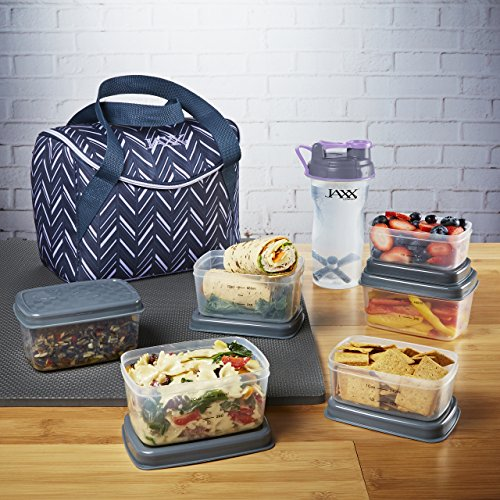 Fit & Fresh Jaxx FitPak Meal Management Set, Top-Loading, Mini-Tote Bag with Portion Control Container Set, Ice Pack and 28-oz. Jaxx Shaker Bottle, Lilac Chevron (Box Bag Tote)