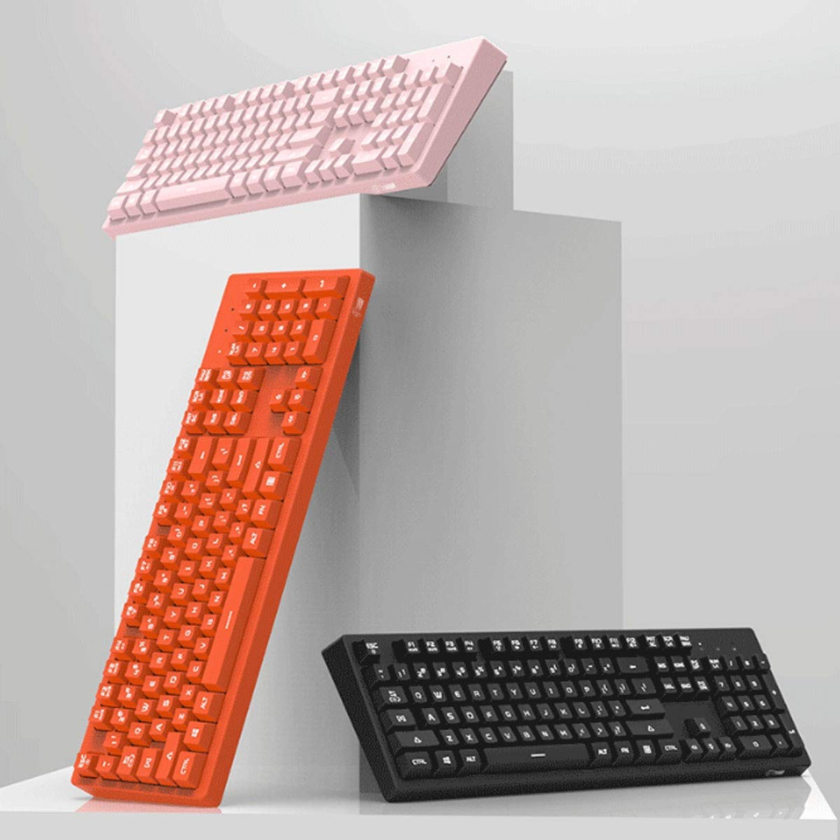Color : Pink Wired Home Office Esports General Style Fashion Real Mechanical Style Computer Keyboard Backlight Orange, Mouse Pad + Mouse Jingfeng Keyboard