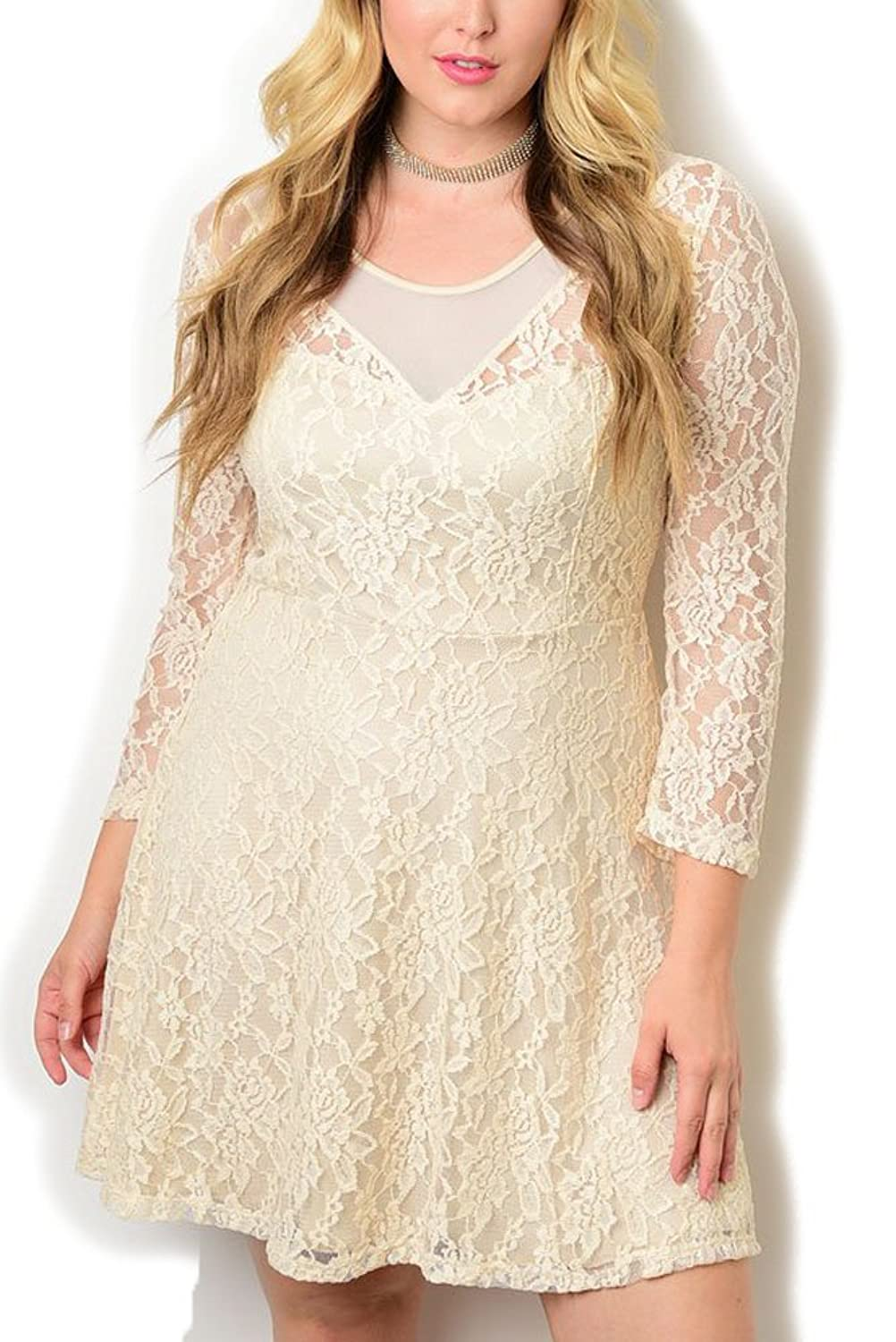 DHStyles Women's Plus Size Sheer Lace Overlay Fitted Dress