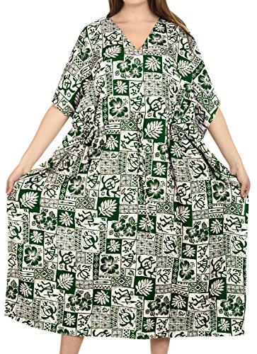 LA LEELA beachwear costume da bagno caftano coprire vestito largo caftani nere donne Verde_e364