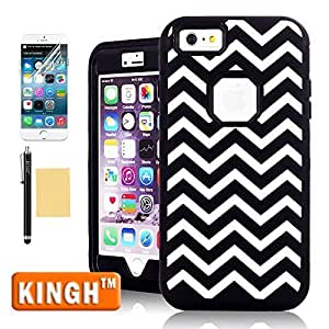 "iPhone 6 Plus Case 5.5 Inch Screen,KINGH(TM)Stylish Cool Black White Waves Pattern Hybrid 3-Piece Silicone+PC Combo Bumper Back Case For Apple iPhone 6 Plus(5.5""),With Stylus,Screen Protector and Cleaning Cloth-[Black]"
