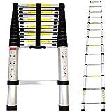 Todeco - Telescopic ladder, Foldable Ladder - Maximum load: 330 lbs - Standard/Certification: EN131 - 12.5 feet, FREE Carry bag, EN 131