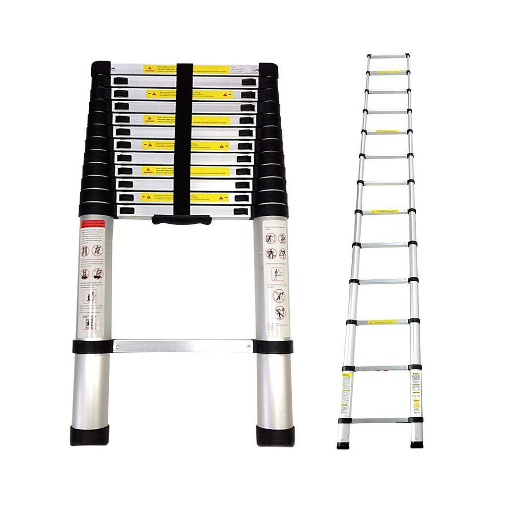 Todeco - Telescopic ladder, Foldable Ladder - Maximum load: 330 lbs - Standard/Certification: EN131 - 12.5 feet, FREE Carry bag, EN 131 Eueasy