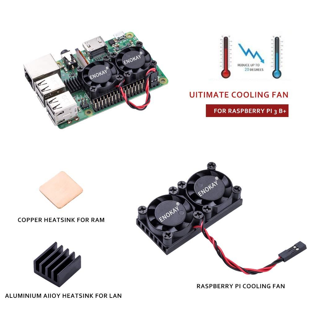 Dual Fan with Raspberry Pi Heatsink Enokay Raspberry Pi 3 Model B B for Raspberry P 2B//3B