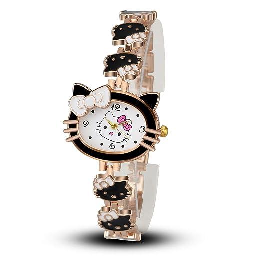 HWCOO Hermoso Relojes de Pulsera Moda Dibujos Animados Gatito Gato Reloj Pulsera Reloj Estudiante Reloj Femenino (Color : 1): Amazon.es: Relojes