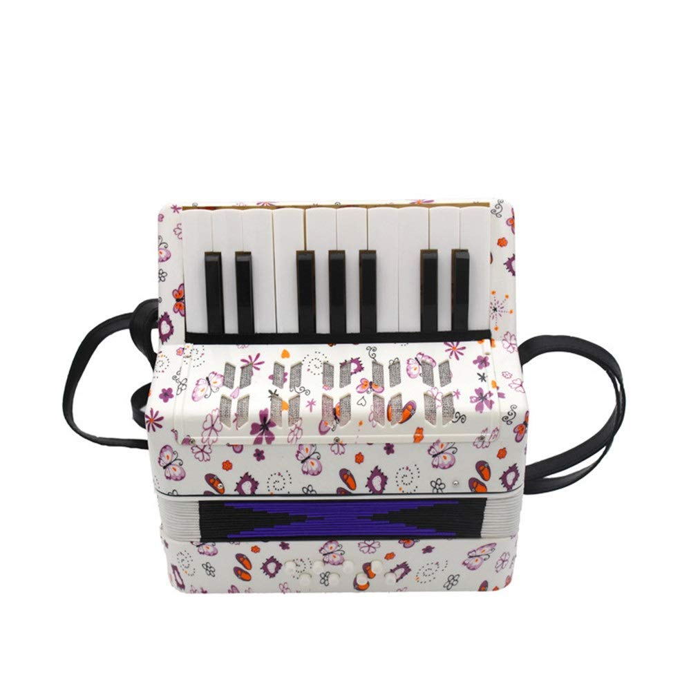Sunsamy Accordion, 17 Keys 8 Bass Kids Piano Accordion with Straps Music Instruments for Beginners Students Mini Small Size Educational Instrument Band Toy Children's Gift Musical Toy Instruments