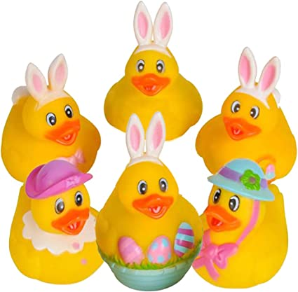 Easter Rubber Duckie Toy Assorted-Choices may vary