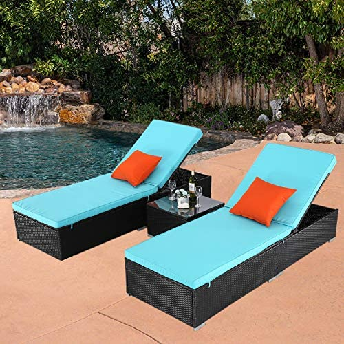 Do4U 3 Pcs Outdoor Patio Synthetic Adjustable Rattan Wicker Furniture Pool Chaise Lounge Chair Set with Table Rattan, Deep Coffee