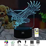3D Illusion Animal Eagle Remote Control LED Desk Table Night Light Lamp 7 Color Touch Lamp Kiddie Kids Children Family Holiday Gift Home Office Childrenroom Theme Decoration by HUI YUAN