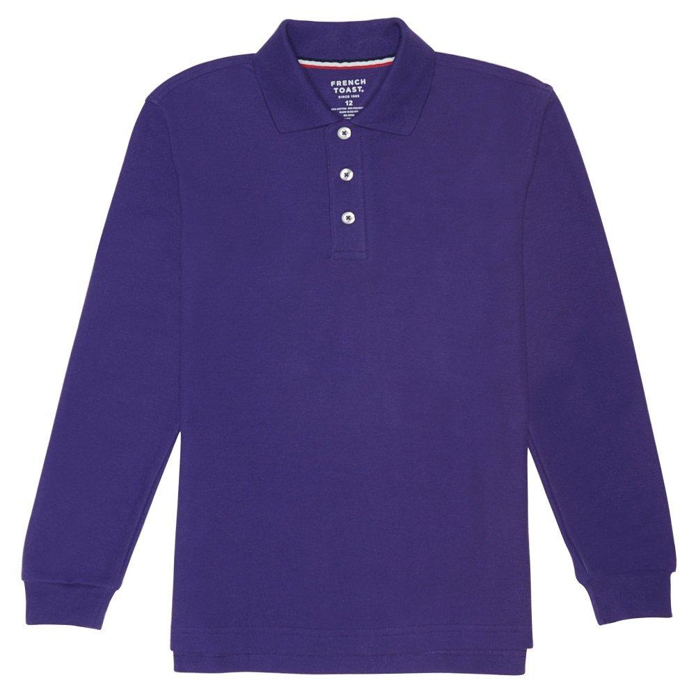 French Toast Boys' Big Long Sleeve Pique Polo Shirt (Standard & Husky), Purple, X-Large (14/16)