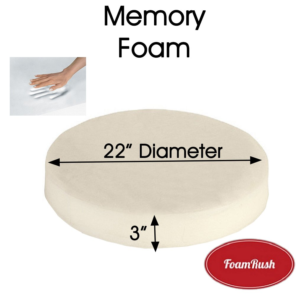 FoamRush 3'' x 22'' Diameter Premium Quality Memory Foam (Bar Stools, Seat Cushion, Pouf Insert, Patio Round Cushion Replacement) Made in USA by FoamRush